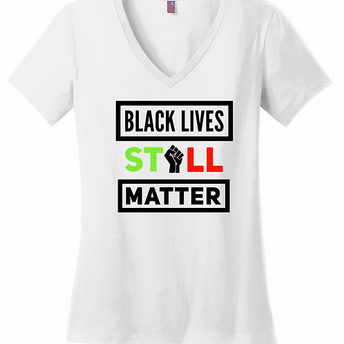 BLM (White) - Women's V-Neck Shirt