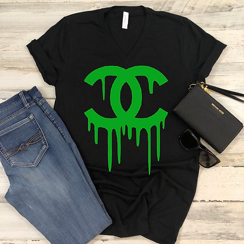 Chanel Drip (Black) - Women's V-Neck Shirt