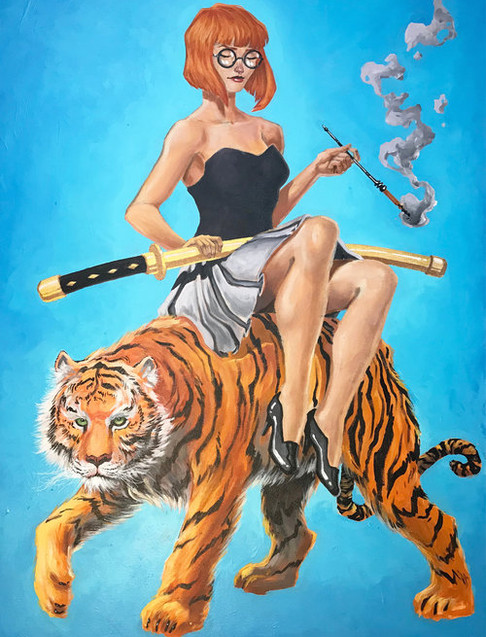 Tiger+girl+on+blue,+acryilic+painting+by