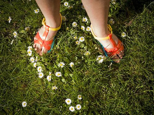 young-flicka-bär-sandaler, -Sommaren-daisies