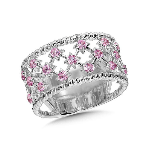 Wide Lattice Pink Sapphire Ring