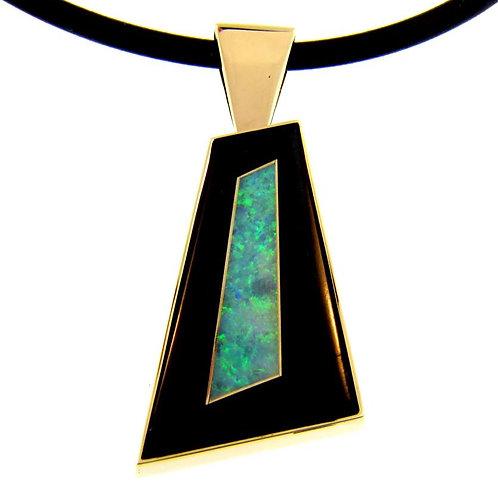 Black Jade and Opal Pendant