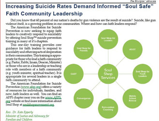"Increasing Suicide Rates Demand Informed ""Soul Safe"" Faith Community Leadership"