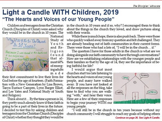 "Light a Candle WITH Children, 2019 ""The Hearts and Voices of our Young People"""