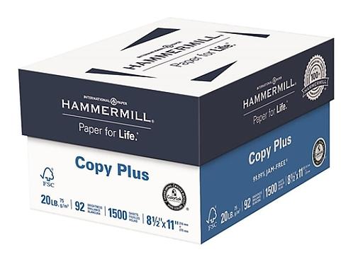 "Hammermill Copy Plus 8.5"" x 11"" Copy Paper, 20 lbs., 92 Brightness, 500 Sheets/R"