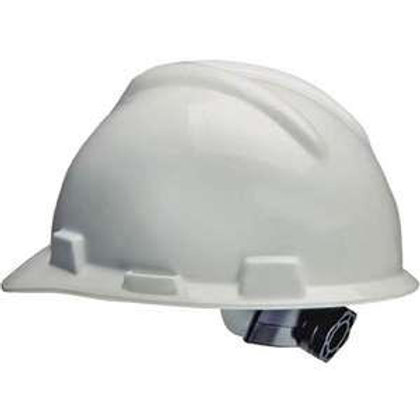 NON-VENTED WHITE RATCHET SUSPENSION HARD HAT