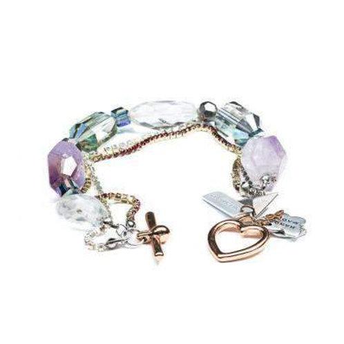 Amethyst and Rock Crystals Rose Gold Bracelet.
