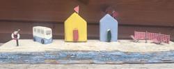 Beach huts, vw campervan, windbreak
