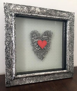 distressed metal effect wire heart wooden heart box frame unique one off