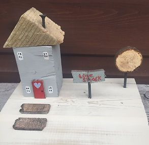 rustic wooden cottage, love shack, upcycled wooden display