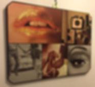 Funky wall art. lips cameras 50's shoes eye makeup one off bespoke wall art