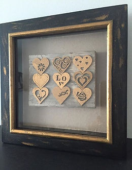 reclaimed wooden wall art gold hearts pallets box frame gold
