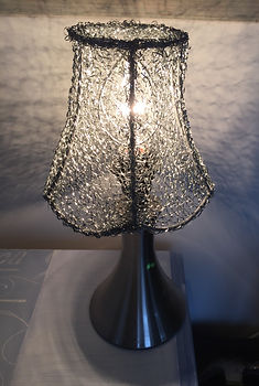 hand sewn metal lamp unique one off touch base on/off pretty effect when lit