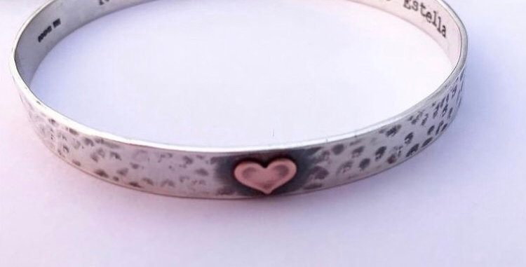 Sterling Silver Hammered Bangle Can Be Personalised With Message Inside
