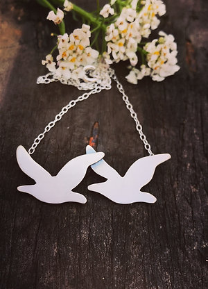Sterling Silver Seagull Necklace, Flying Bird Pendant