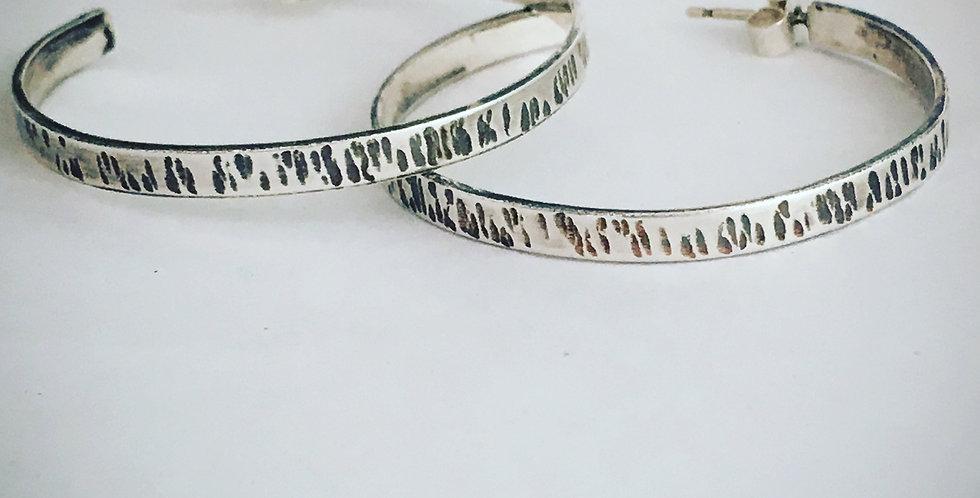 Sterling Silver Hoop Earrings, Hammered Drop Earrings