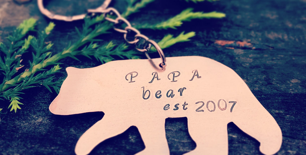 Papa Bear Keyring Made in Copper Personalised with Stamped Date