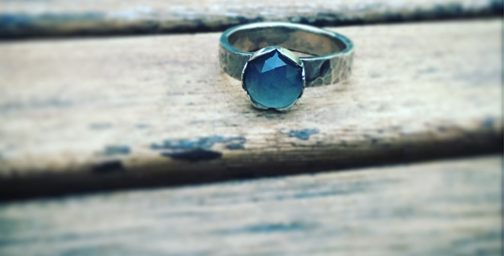 Sterling Silver Blue Stone Ring, Chalcedony Round Stone Ring