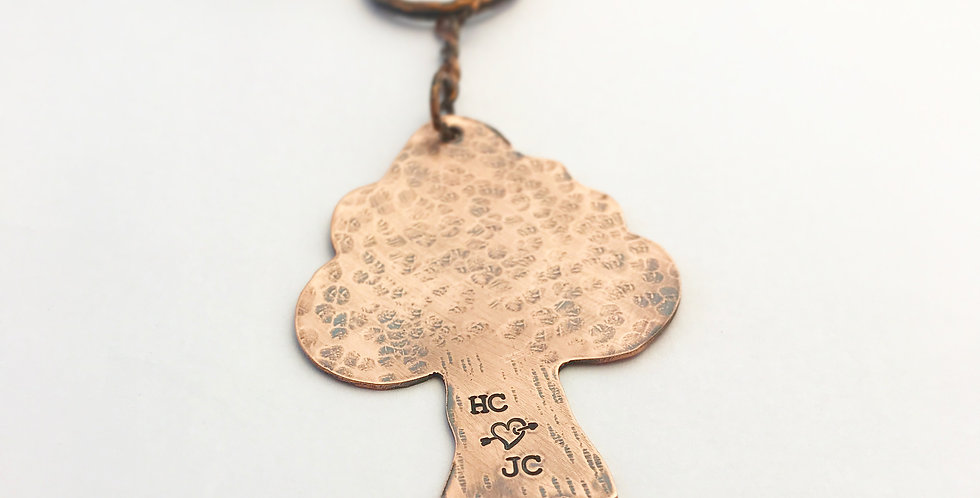 Copper Personalised Tree Keyring, Perfect Valentines Gift