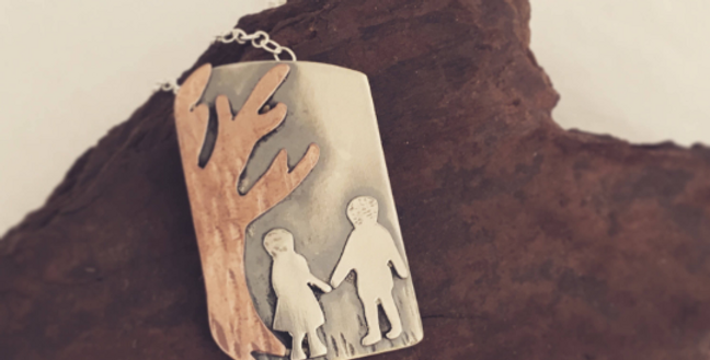 Hansel And Gretel Pendant Handmade in Sterling Silver and Copper