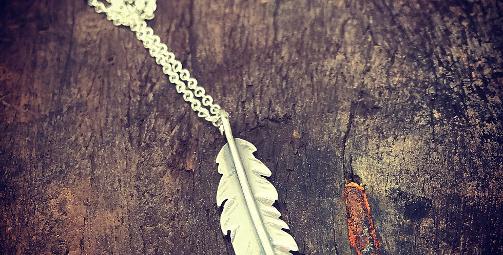 Sterling Silver Feather Necklace, Can be Personalised