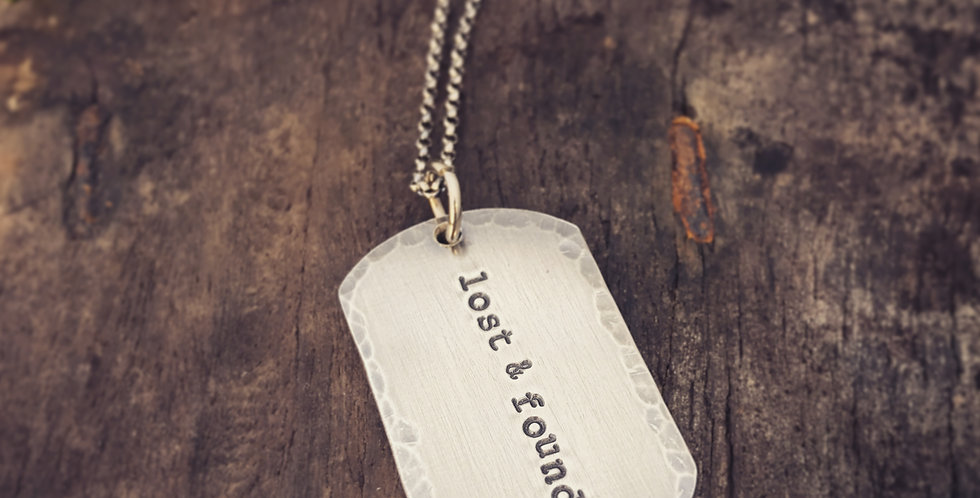 Sterling Silver Mens Dogtag Necklace