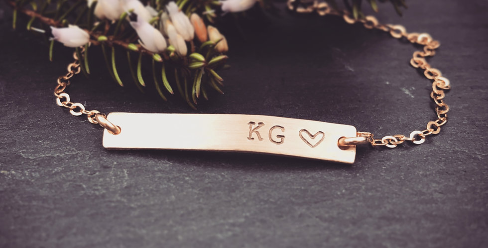 Gold Simple Bar Bracelet Can be Personalised or Left Plain