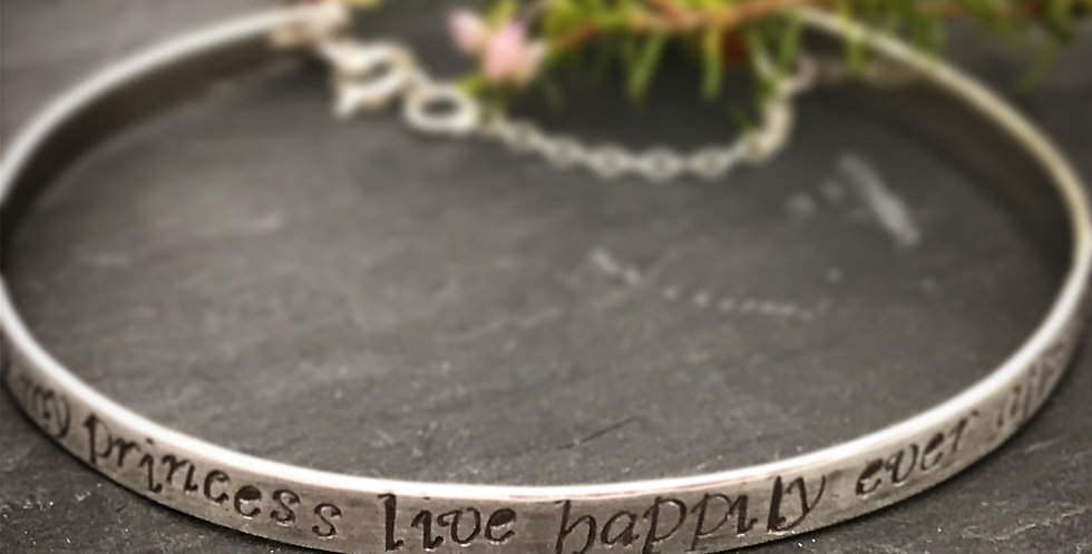 Personalised Sterling Silver Cuff Bangle Engraved Bracelet