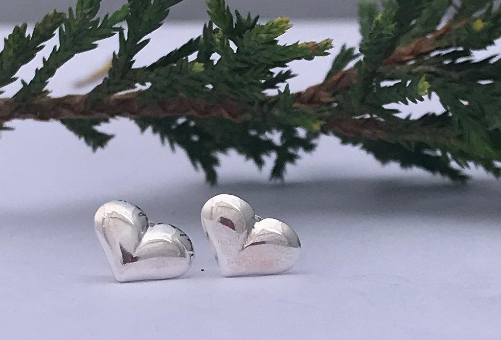 Sterling Silver Heart Studs, Simple Everyday Heart Earrings
