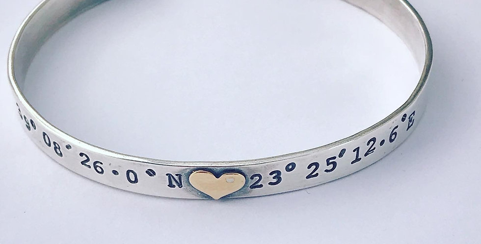 Sterling Silver Cuff Bangle Personalised With Coordinates
