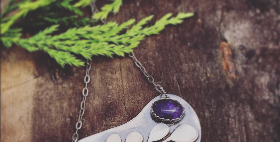 Sterling Silver Handmade Leaf Pendant with Amethyst Stone