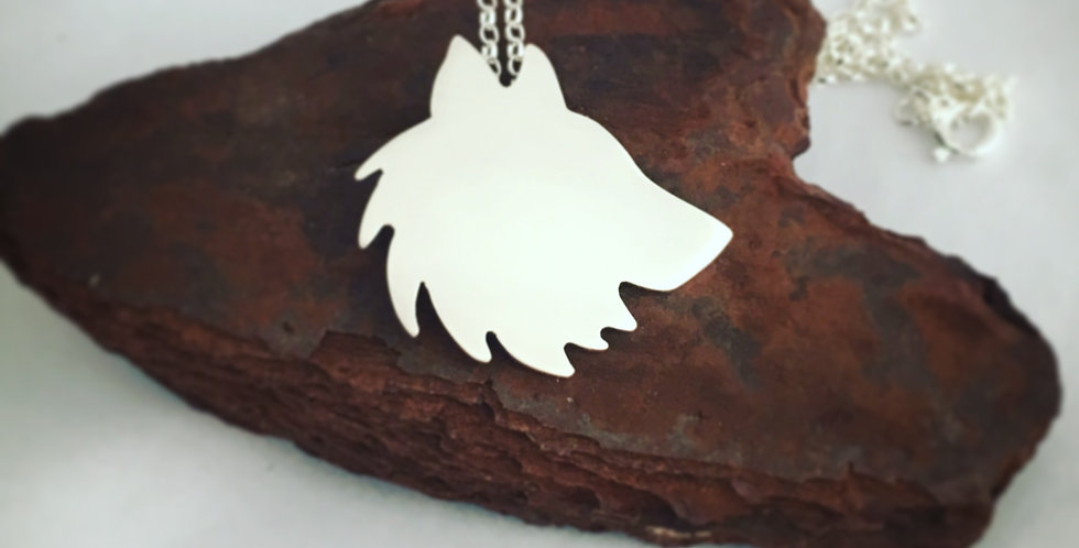 Sterling Silver Wolf Silhouette Necklace