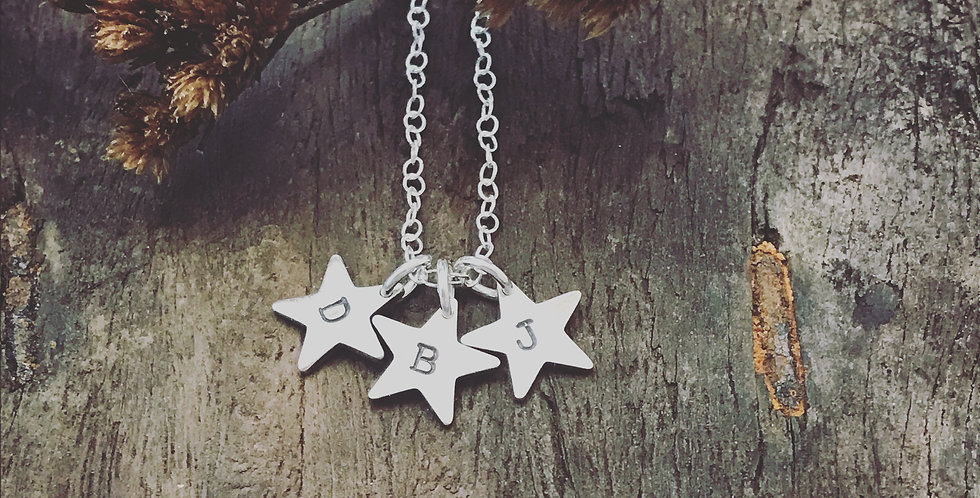 Sterling Silver Star Necklace, Initial Star Charms