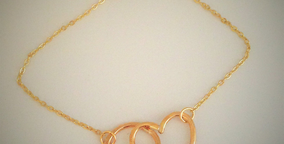Heart And Circle Simple Bracelet, Hug and Love Bangle in Silver or Gold