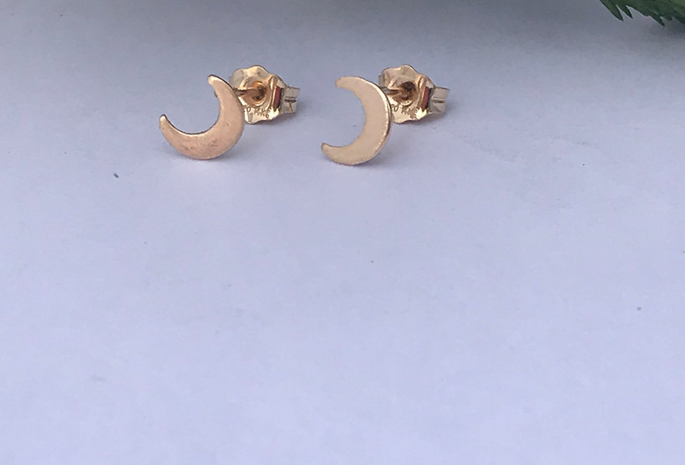 14ct Filled Gold Moon Stud Earrings, simple gold studs