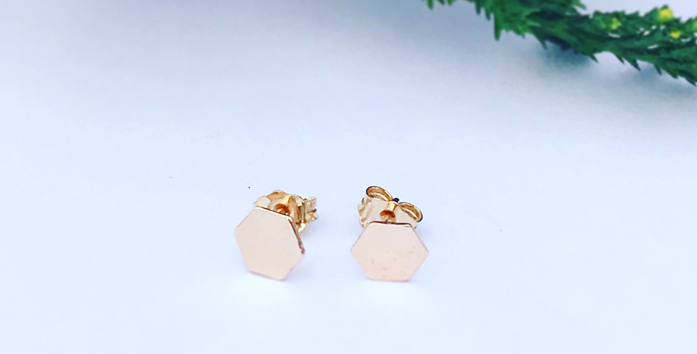 14ct Filled Gold Hexagon Stud Earrings, simple gold studs