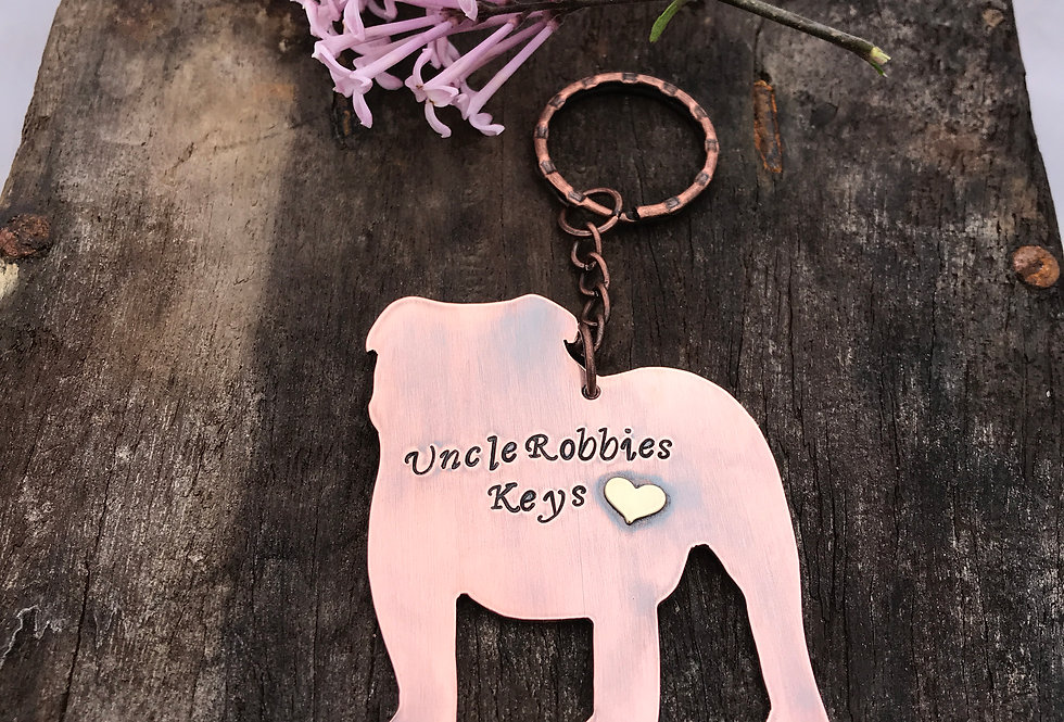 Personalised Bulldog Keyring Handmade In Copper