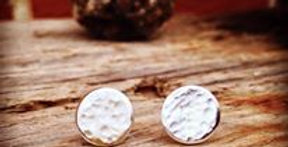 Sterling Silver Simple Hammered Round Stud Earrings