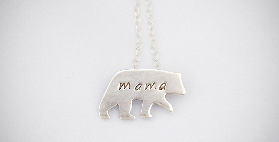 Sterling Silver Mama Bear Necklace - Great Mothers Day Gift