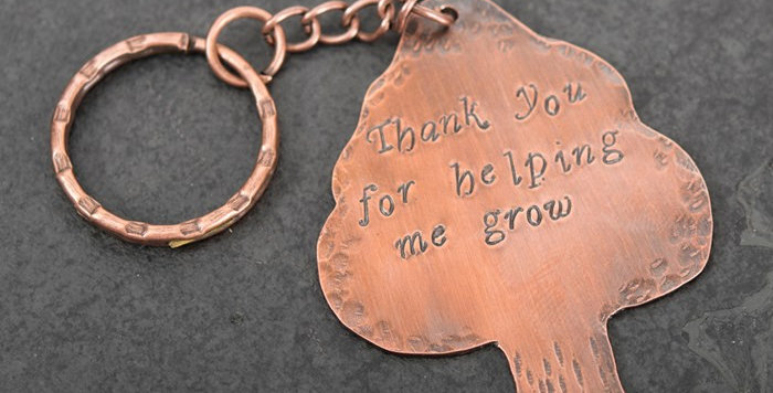 Copper Tree Keyring Thank You For Helping Me Grow