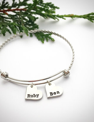 Personalised Charm Bracelet, Stainless Steel Adjustable Bangle with Custom Charm