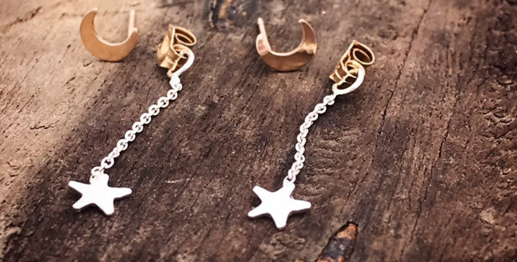Star and Moon Dangly Earrings, Gold and Sterling Silver Earrings