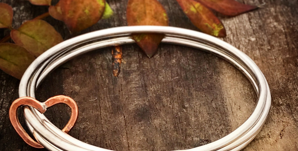 Sterling Silver Hammered Bangle, Set of 3 Bangles with Copper Heart Charm