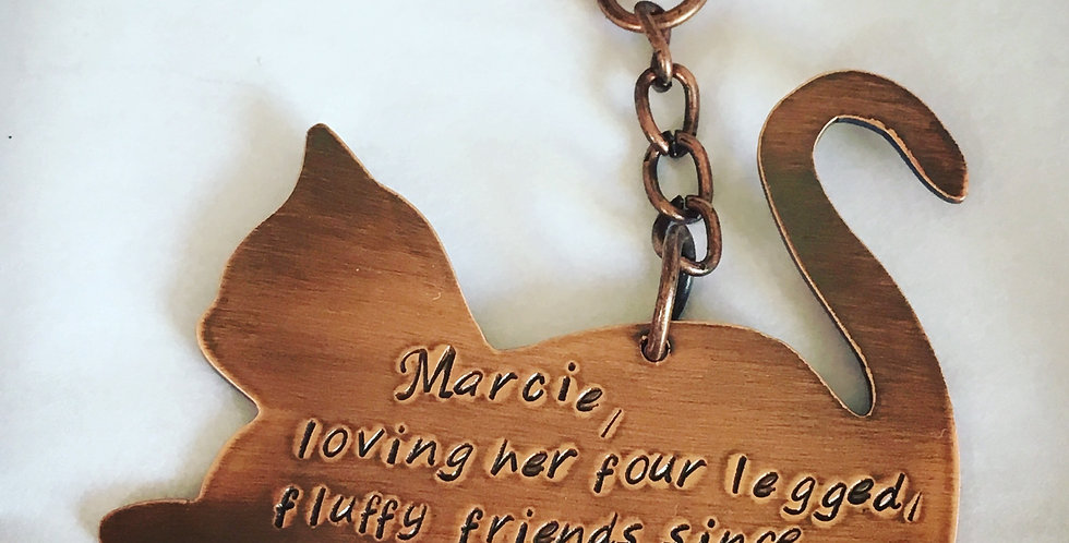Copper Cat Keyring Personalised with your own message