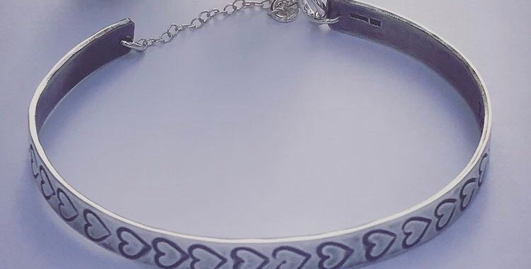 Sterling Silver Personalised Heart Cuff Bangle