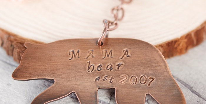 Mama Bear Keyring Made in Copper Personalised with Stamped Date