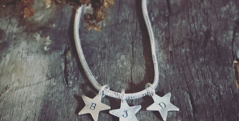 Sterling Silver Star Charm Bracelet, Personalised Initials Charms