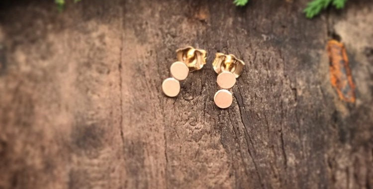 Gold Small Stud Earrings, 14ct Rolled Gold Dot Studs