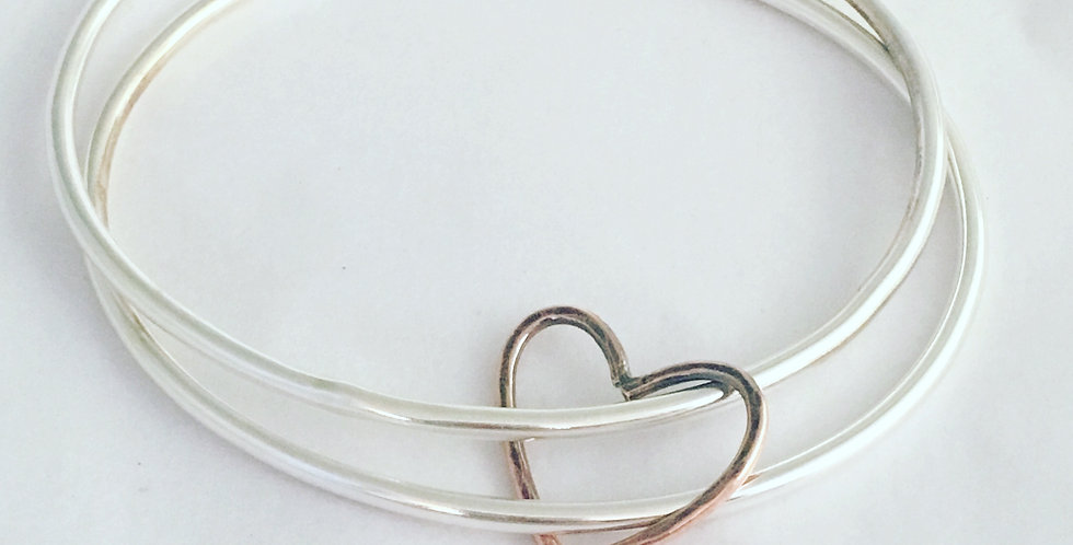 Sterling Silver Set of 2 Hammered Bangles with Heart Detail