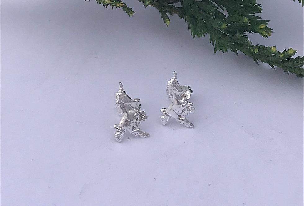 Sterling Silver Unicorn Studs, Simple Unicorn Earrings